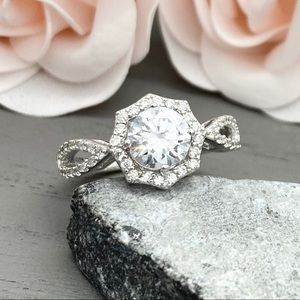 Sterling Silver Octagon Round CZ Halo Ring